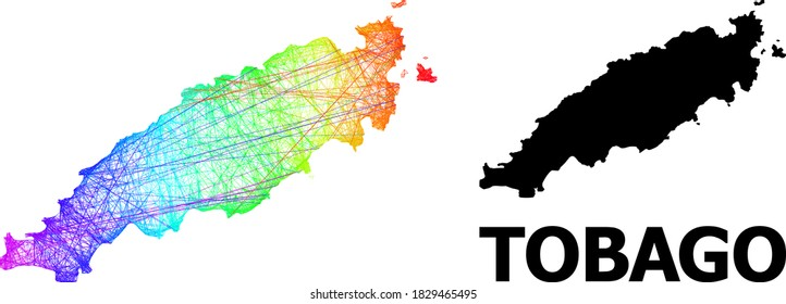 Net and solid map of Tobago Island. Vector model is created from map of Tobago Island with intersected random lines, and has bright spectral gradient. Abstract lines form map of Tobago Island.