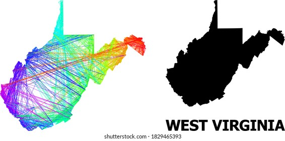Net and solid map of West Virginia State. Vector structure is created from map of West Virginia State with intersected random lines, and has rainbow gradient.