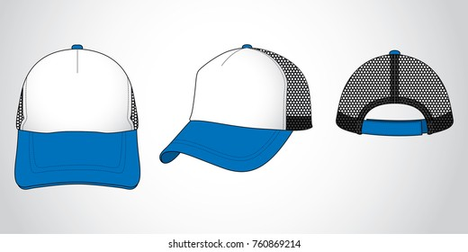 Net Trucker cap design (Blue/White/Black)