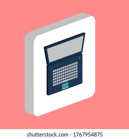 Netbook, Notebook Simple vector icon. Illustration symbol design template for web mobile UI element. Perfect color isometric pictogram on 3d white square. Netbook, Notebook icons for business project