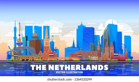 The Netherands ( Amsterdam, Rotterdam, The Hague, Eindhoven and other) skyline vector illustration at white background. Business travel and tourism concept with famous France landmarks.