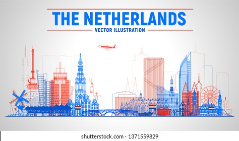 The Netherands ( Amsterdam, Rotterdam, The Hague, Eindhoven and other) line skyline vector illustration on white background. Business travel and tourism concept with famous France landmarks.