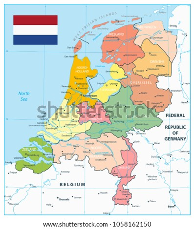 Map Of Germany And Holland.Netherlands Administrative Divisions Map Highly Detailed Stock