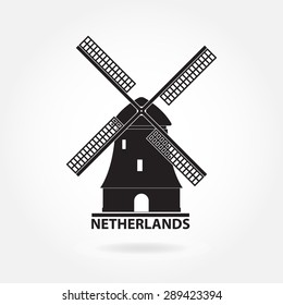 Netherlands and Amsterdam symbol. Windmill icon or sign isolated on white background. Mill silhouette. Vector illustration.
