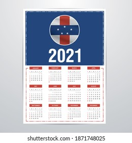 Netherlands Antilles Calendar 2021- Country Flag Banner - Happy New Year