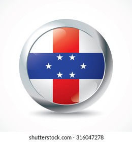 Netherlands Antilles flag button - vector illustration