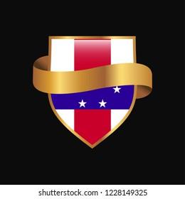 Netherlands Antilles flag Golden badge design vector