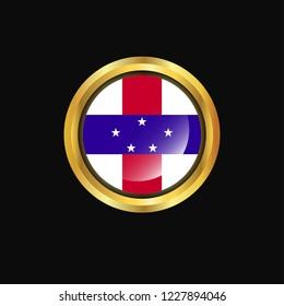 Netherlands Antilles flag Golden button