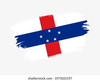 Netherlands Antilles flag made in textured brush stroke. Patriotic country flag on white background