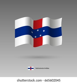 Netherlands Antilles flag. Official colors and proportion correctly. High detailed vector illustration. 3d and isometry. EPS10