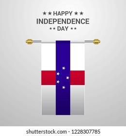 Netherlands Antilles Independence day hanging flag background