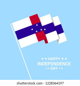 Netherlands Antilles Independence day typographic design with flag vector