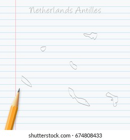 Netherlands Antilles map hand drawn with pencil on a paper sheet. Vector illustration, easy to edit.