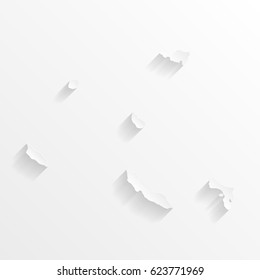 Netherlands Antilles Map with shadow. Cut paper isolated on a white background. Vector illustration.