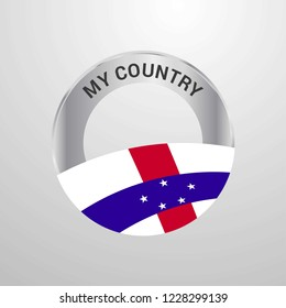 Netherlands Antilles My Country Flag badge