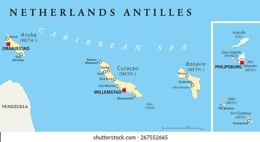 Netherlands Antilles Political Map. Aruba, Curacao, Bonaire, Sint Maarten, Saba and Sint Eustatius with capitals and important cities. English labeling and scaling. Illustration.
