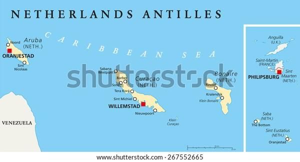 Niederlandische Antillen Politische Karte Aruba Curacao Stock