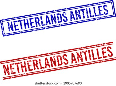 NETHERLANDS ANTILLES seal overlays with grunge texture. Vectors designed with double lines, in blue and red variants. Label placed inside double rectangle frame and parallel lines.
