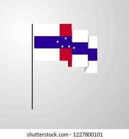 Netherlands Antilles waving Flag creative background