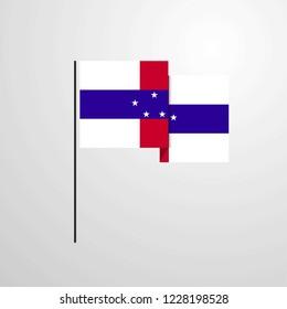 Netherlands Antilles waving Flag design vector