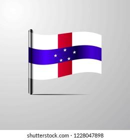 Netherlands Antilles waving Shiny Flag design vector