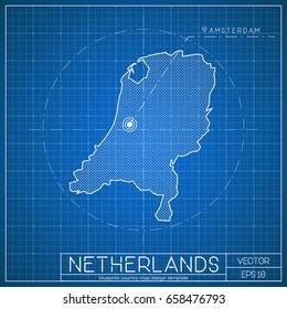 Netherlands blueprint map template with capital city. Amsterdam marked on blueprint Dutch map. Vector illustration.
