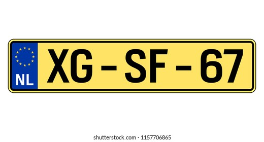 Netherlands car plate. Vehicle registration number