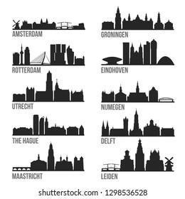 Netherlands Cities Most Famous Skyline City Silhouette Design Collection Set Pack