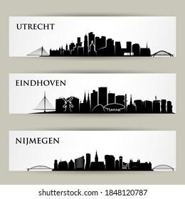 Netherlands cities skylines Utrecht, Eindhoven and Nijmegen vector illustration