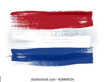 Netherlands colorful brush strokes painted national country Dutch flag icon. Painted texture.