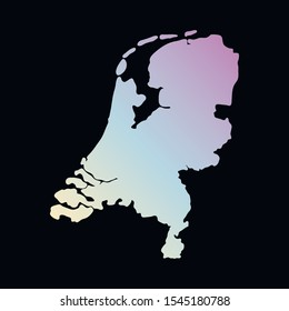 Netherlands  colorful vector map silhouette