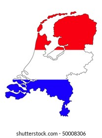 the netherlands country border line with dutch flag