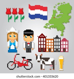 Netherlands culture symbols icons set. Pixel art. Old school computer graphic style.