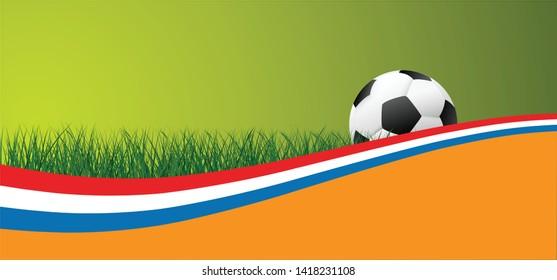 Netherlands Dutch  national flag football team Vector World cup uae Soccer banner wave background abstract green grass field football sport ball Vector fun funny waves Orange EK European UEFA Fifa