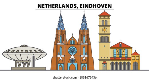 Netherlands, Eindhoven. City skyline, architecture, buildings, streets, silhouette, landscape, panorama, landmarks. Editable strokes. Flat design line vector illustration concept. Isolated icons
