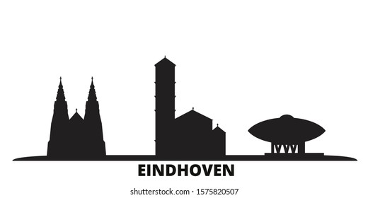 Netherlands, Eindhoven city skyline isolated vector illustration. Netherlands, Eindhoven travel black cityscape