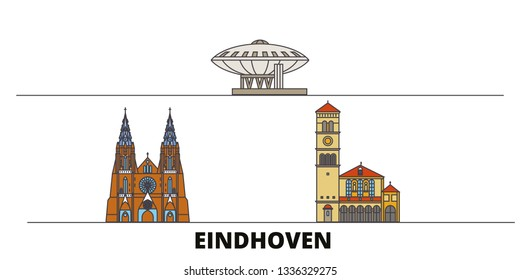 Netherlands, Eindhoven line city with famous travel sights, skyline, design.