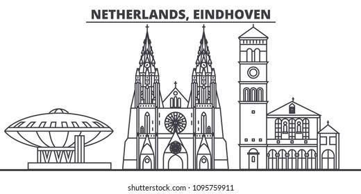 Netherlands, Eindhoven line skyline vector illustration. Netherlands, Eindhoven linear cityscape with famous landmarks, city sights, vector landscape.