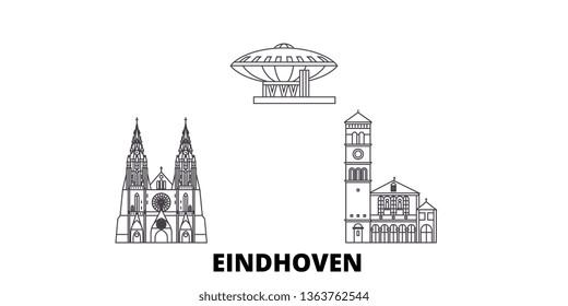 Netherlands, Eindhoven line travel skyline set. Netherlands, Eindhoven outline city vector illustration, symbol, travel sights, landmarks.