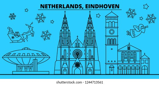 Netherlands, Eindhoven winter holidays skyline. Merry Christmas, Happy New Year decorated banner with Santa Claus.Netherlands, Eindhoven linear christmas city vector flat illustration