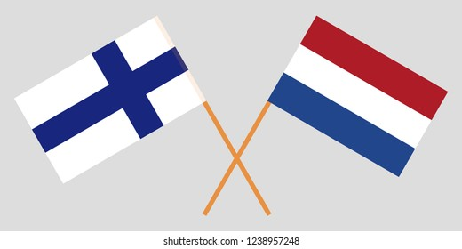 Netherlands and Finland. The Netherlandish and Finnish flags. Official proportion. Correct colors. Vector illustration