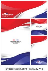 Netherlands flag abstract colors background. Collection banner design. brochure vector illustration.