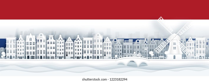 The Netherlands flag and famous landmarks in paper cut style vector illustration.