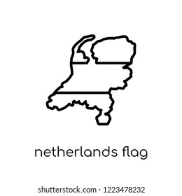 Netherlands flag icon. Trendy modern flat linear vector Netherlands flag icon on white background from thin line Country Flags collection, editable outline stroke vector illustration