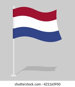 Netherlands flag. Official national symbol of  Kingdom. Traditional Dutch banner emerging European state