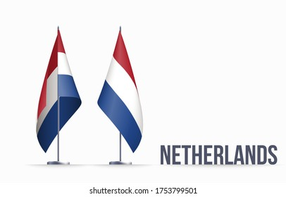 Netherlands flag state symbol isolated on background national banner. Greeting card National Independence Day of the Kingdom of the Netherlands. Illustration banner with realistic state flag Holland.