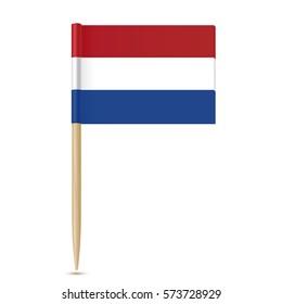 Netherlands flag toothpick on white background 10eps