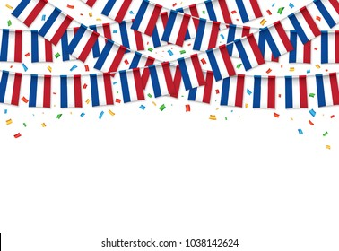 Netherlands flags garland white background with confetti, Hang bunting for independence Day celebration template banner, Vector illustration
