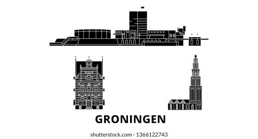 Netherlands, Groningen flat travel skyline set. Netherlands, Groningen black city vector illustration, symbol, travel sights, landmarks.