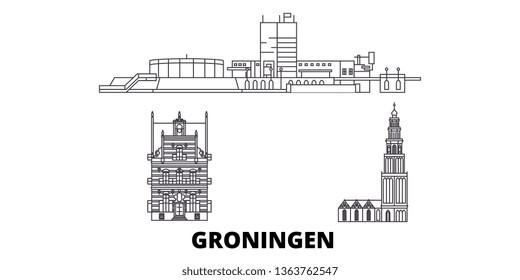 Netherlands, Groningen line travel skyline set. Netherlands, Groningen outline city vector illustration, symbol, travel sights, landmarks.